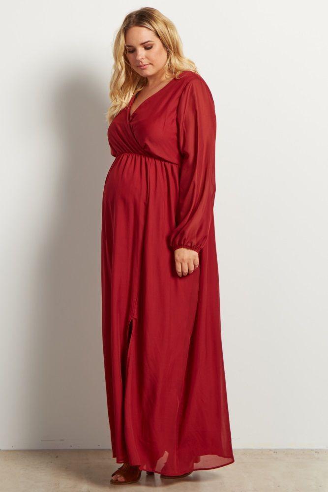 ada693cafd Burgundy Solid Chiffon Long Sleeve V-neck Maternity Plus Maxi Dress ...