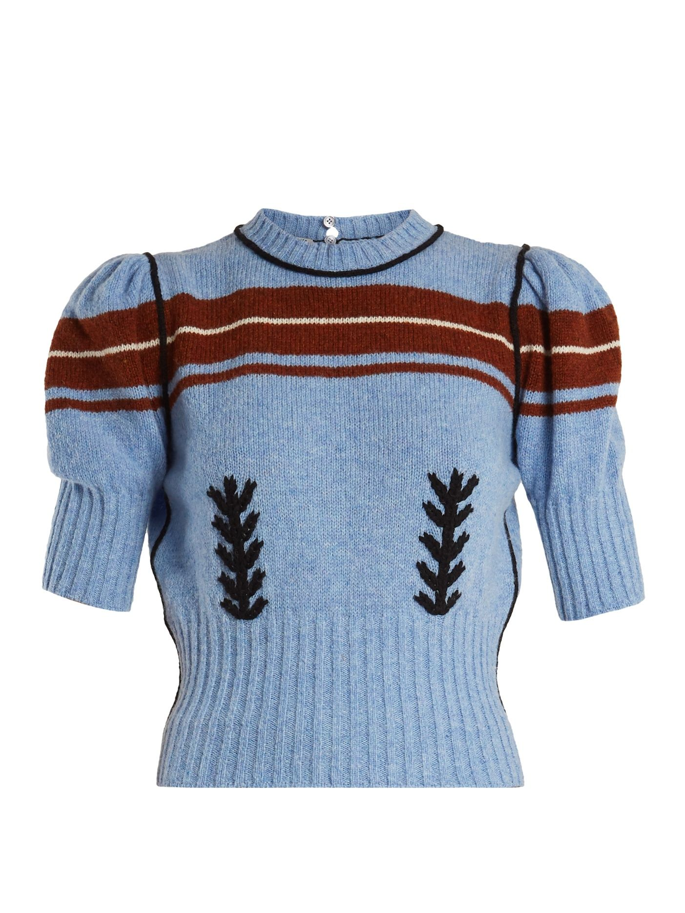 70755e10e2ab4 Click here to buy Miu Miu Embroidered and striped-intarsia wool knit  sweater at MATCHESFASHION.COM