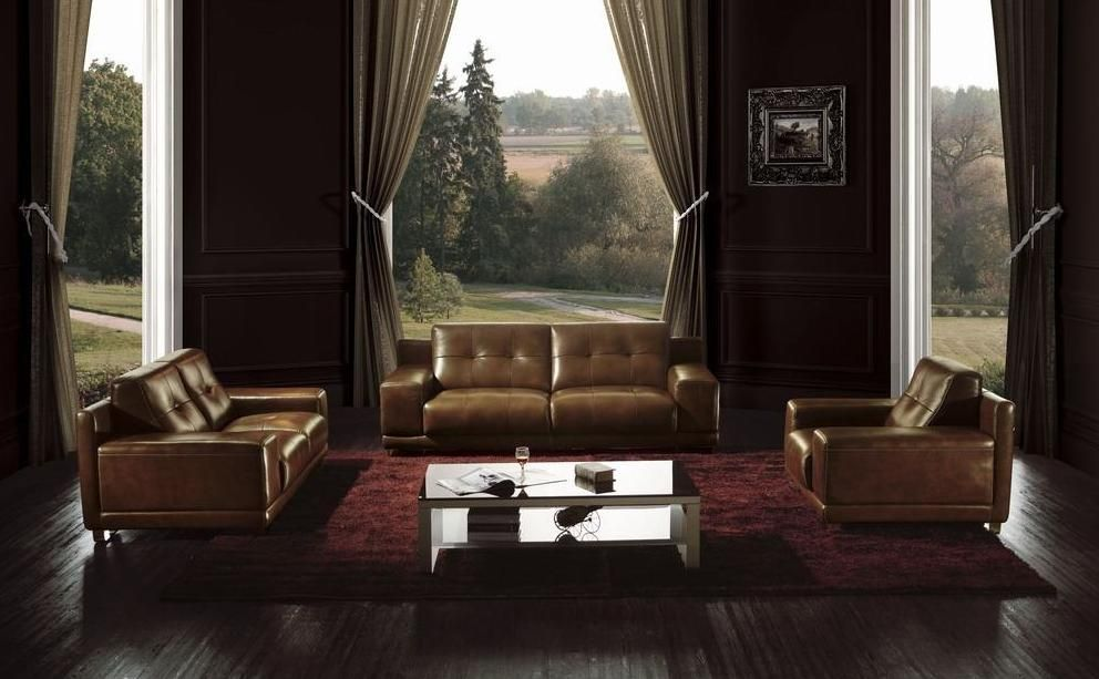 Best Brown Leather Modern Button Tufted Sofa Set St Paul 640 x 480