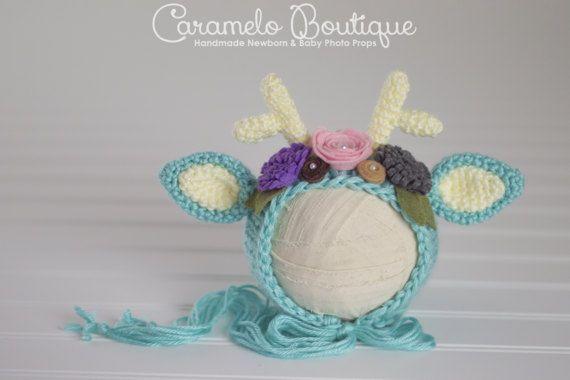 Photo of Whimsical Baby Girl Deer Bonnet-Newborn Fawn Bonnet-Newborn Hat with Antlers-Newborn Photo Props-Baby Girl Photo Props-Newborn Deer Hat