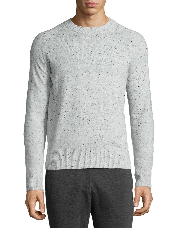 ATM Donegal Cashmere Crewneck Sweater, Dark Gray, Men's, Size: S