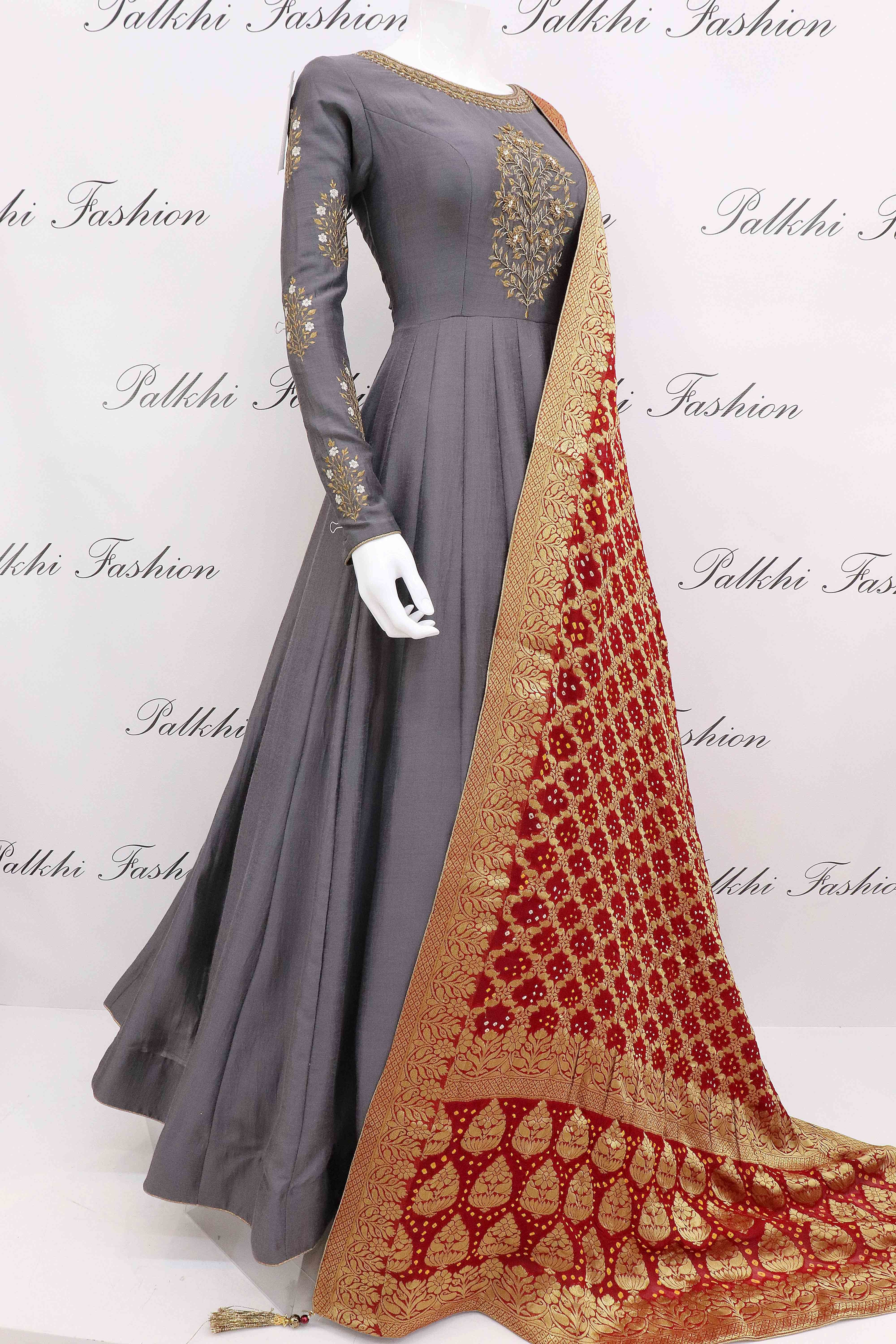 bd3f8b1118 Grey soft silk designer outfit with pure gaji dupatta also manidrehar  outfits in pinterest suits punjabi