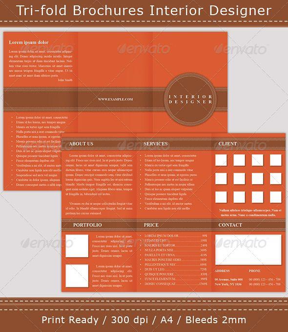 Tri-fold Brochures Interior Designer Tri fold brochure - microsoft trifold template