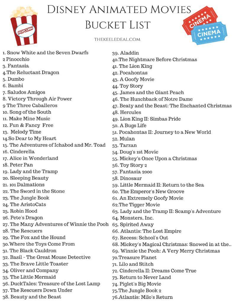 Free Printable Disney Animated Movies Bucket List Disney Movies