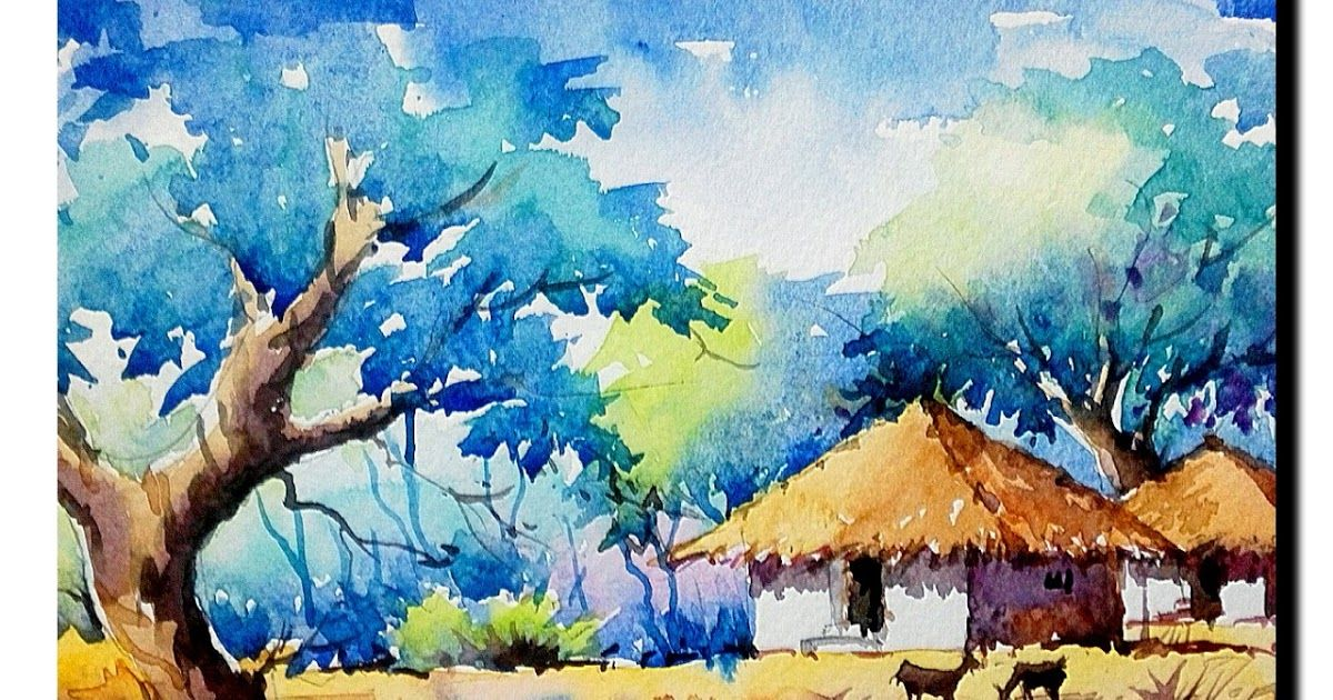 Pin By Anil Nepali On An Watercolor Landscape Paintings