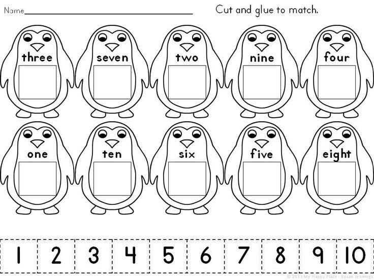 Cut and Glue Penguins-Match Numerals to Number Words