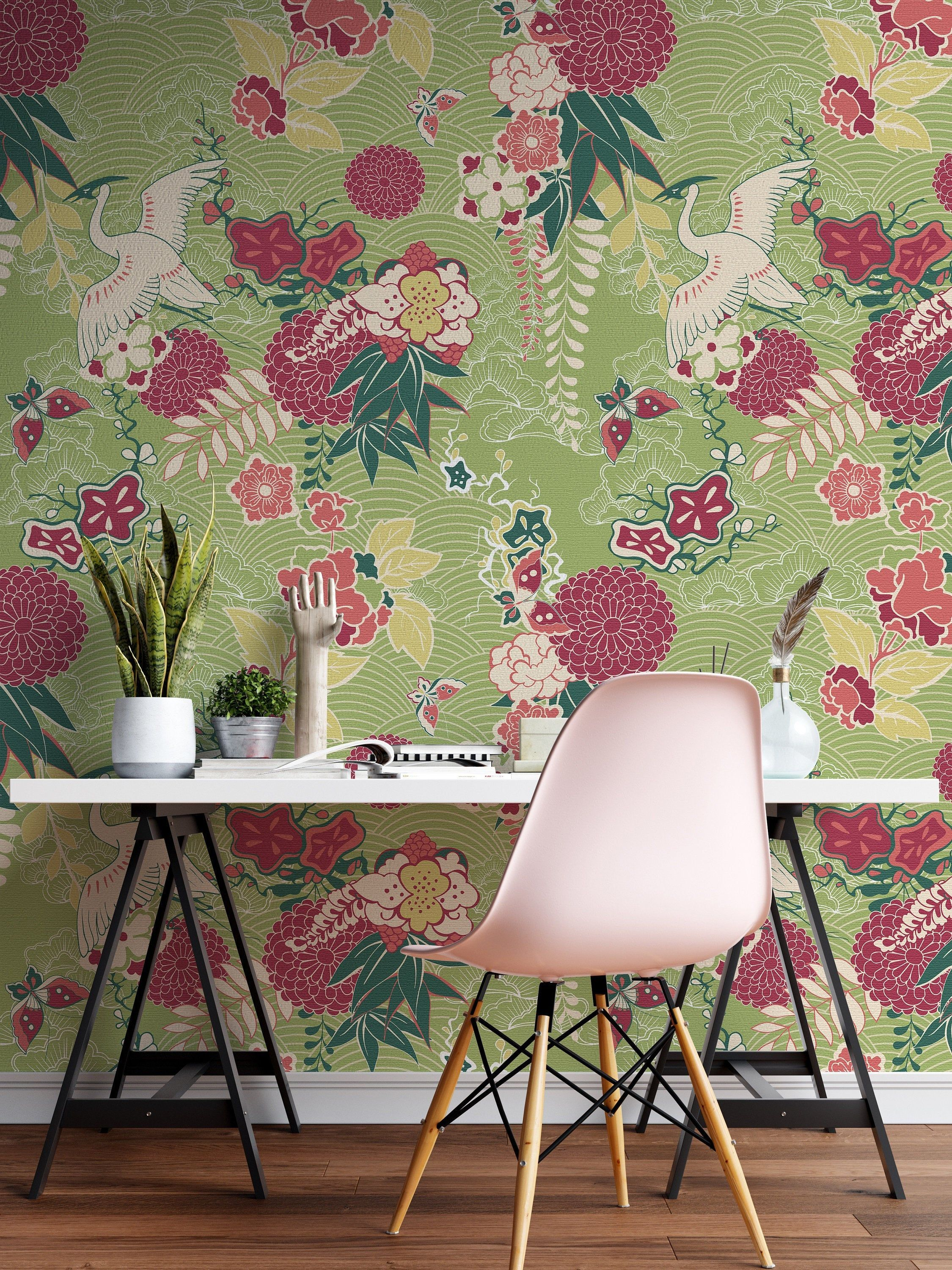 Removable Wallpaper Japanese Floral Temporary Wallpaper Etsy Removable Wallpaper Temporary Wallpaper Peel And Stick Wallpaper