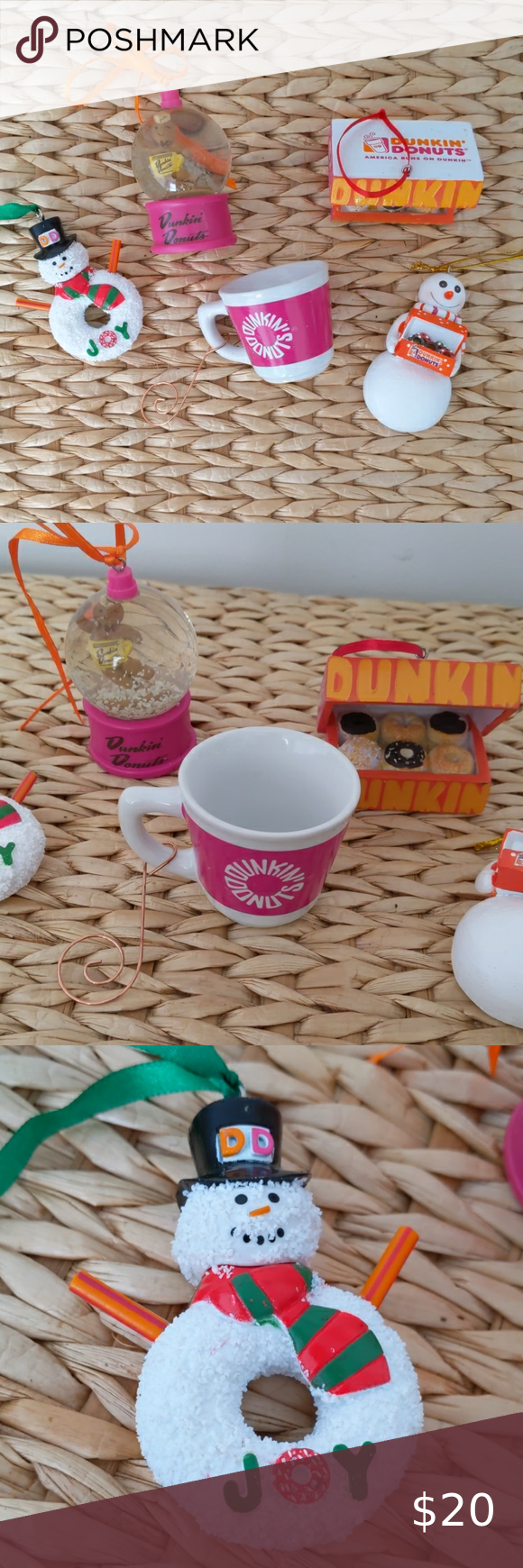 Collection of 5 Dunkin Donuts ornaments Collection of 5 Dunkin