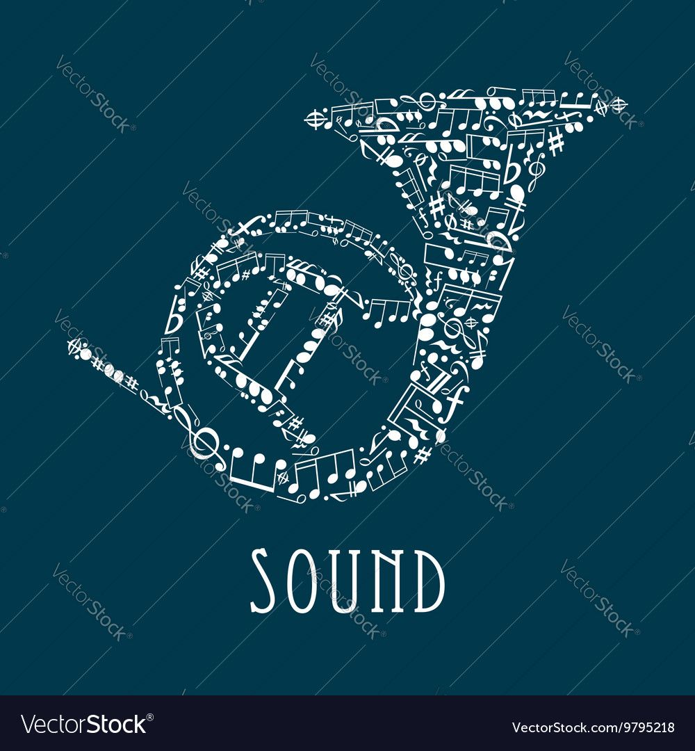 Clefs and notes in shape of french horn vector image on