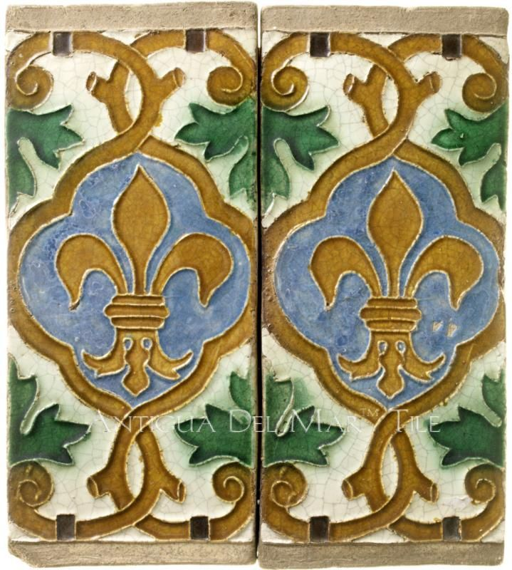 Antigua Del Mar Tiles Fleur De Lis Antique