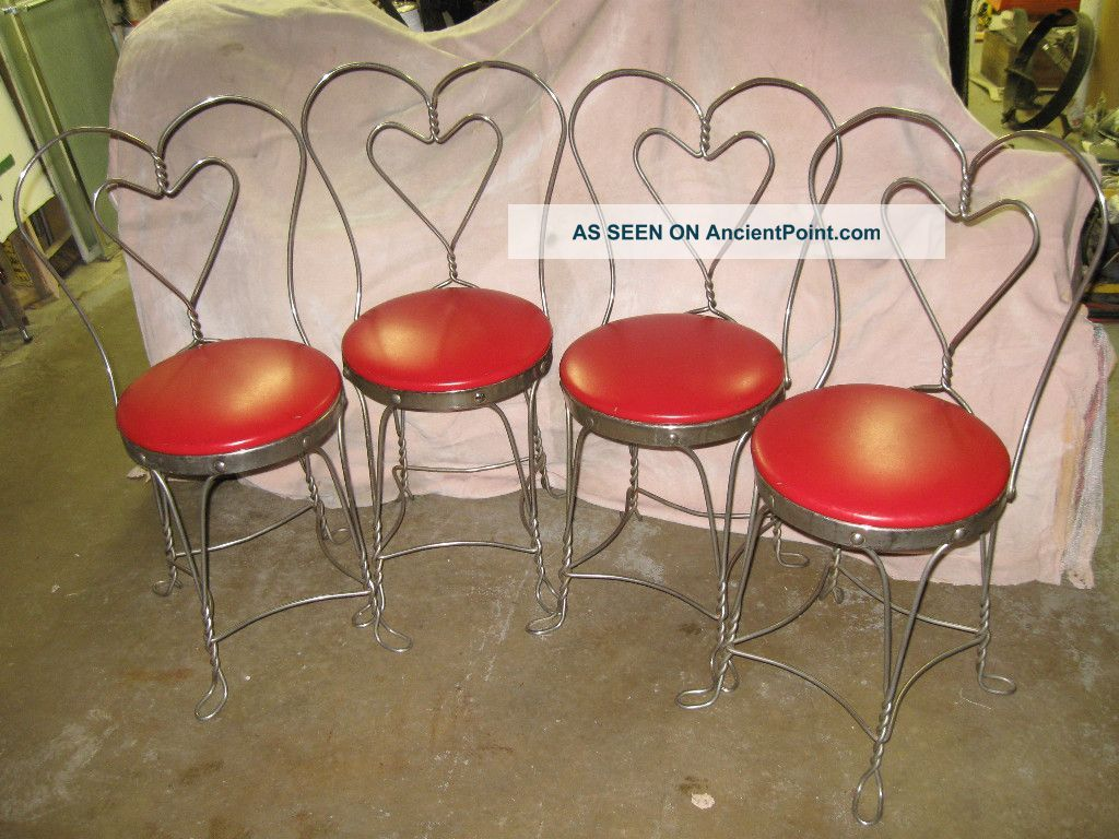 Antique Ice Cream Parlor Sweet Heart Chairs   Soda Fountain Coca Cola Coke  Malt 1900