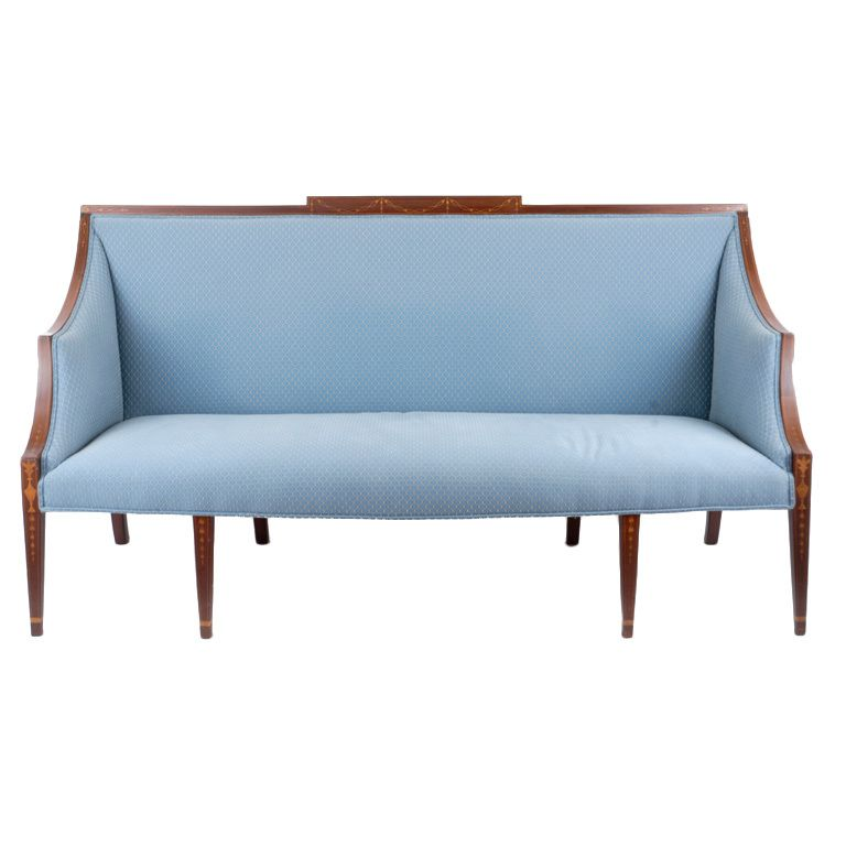 An excellent New York Federal inlaid sofa #americana #blue #cornflower #lightblue #sofa #sette #livingroom #wood #upholstered #decor #chair #folkart #art #american #sky #design (via @1stdibs)