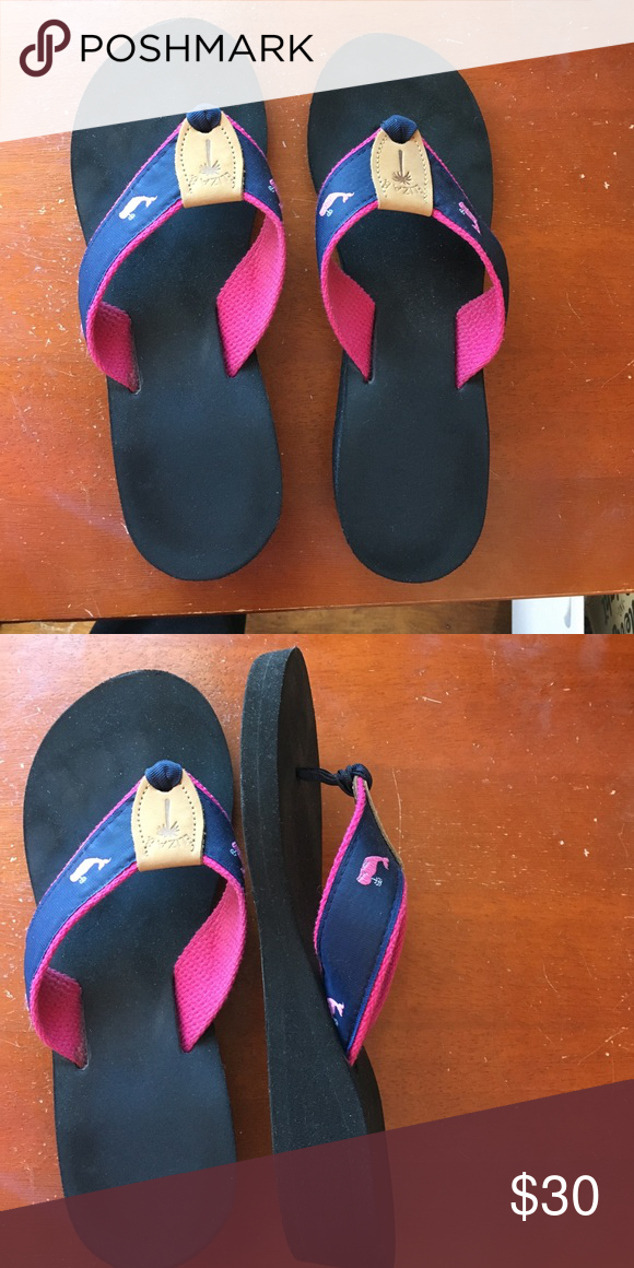Eliza b wedge flip flops Eliza b wedge flip flops - navy ribbon with pink  whales - worn 3 times - practically brand new - very cute eliza b Shoes  Sandals 0b57b237d98e