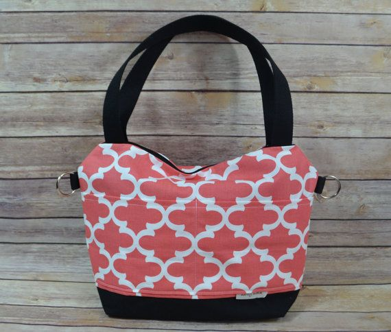 Camera Purse in Coral With waterproof black cavas base  Made in America by Darby Mack,  Lightweight & Washable #camerapurse