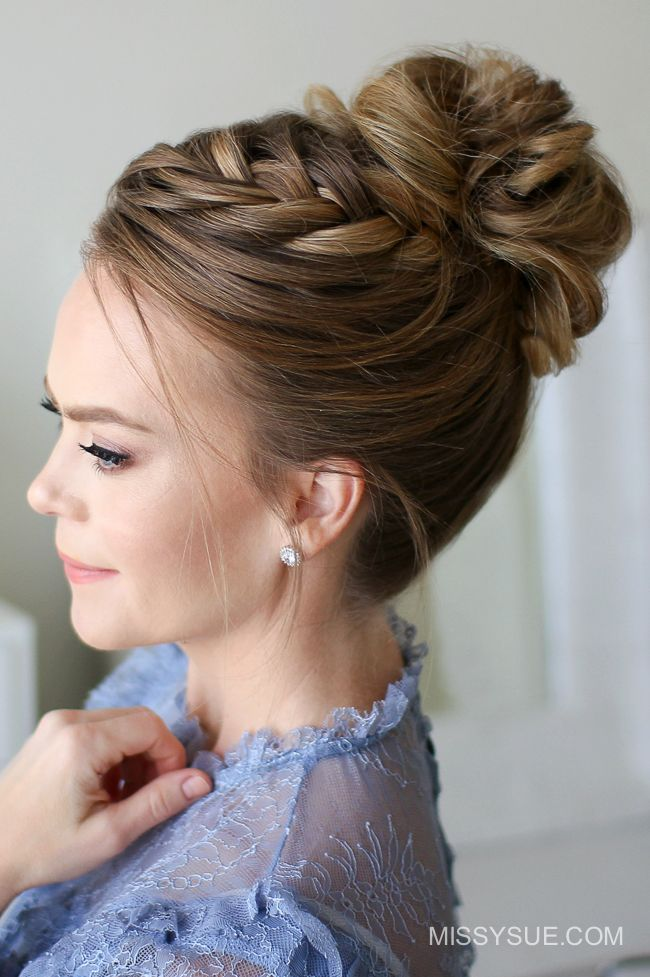 Fishtail French Braid High Bun - Hairstyles 2019 - Joyeux Noel20 Fishtail - Hair Beauty