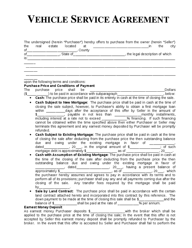 Vehicle Service Agreement Template Hashdoc Service