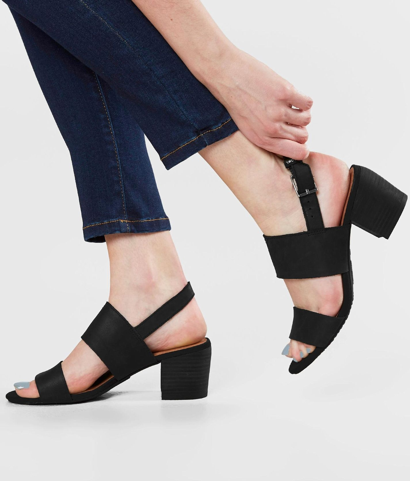 1db89b24c TOMS Poppy Heeled Sandal - Women s Shoes in Black Leather
