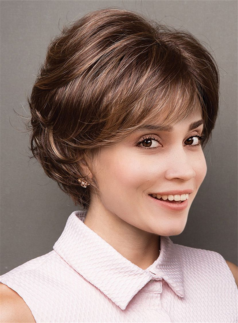 Flattering Bob with Feathered Layers Capless Synthetic Women Wigs