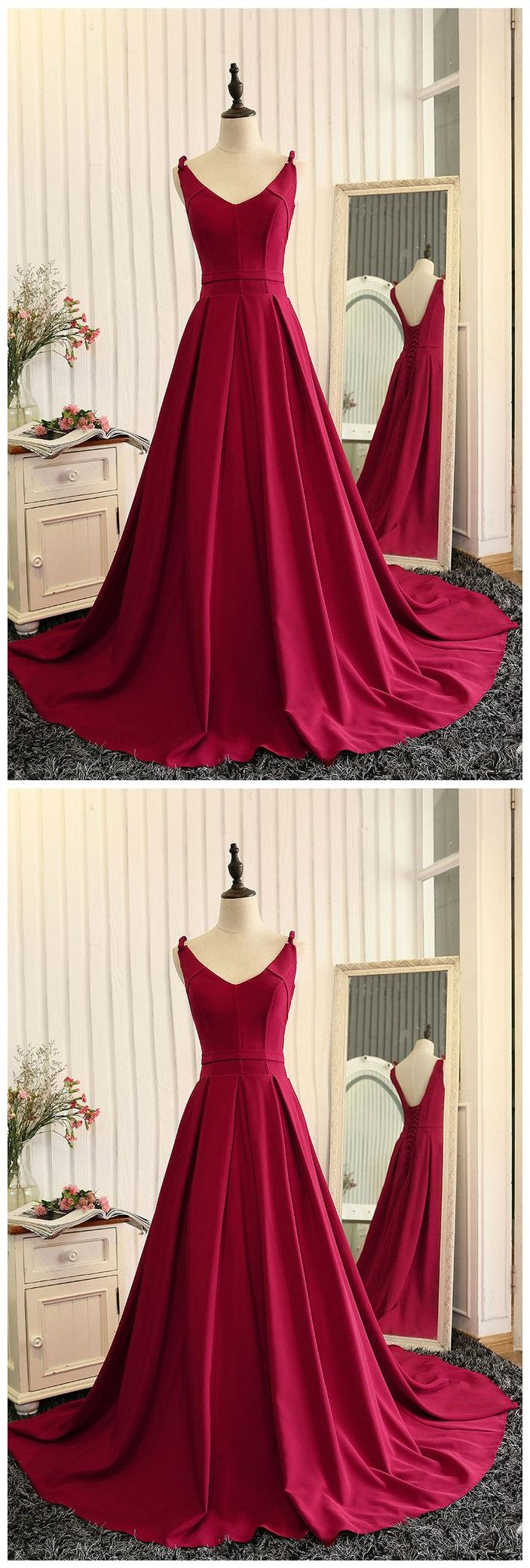 Formal simple satin burgundy long prom dress higownevening