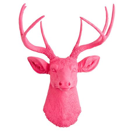 Showcasing a deer head silhouette in vibrant pink, this eye-catching ...