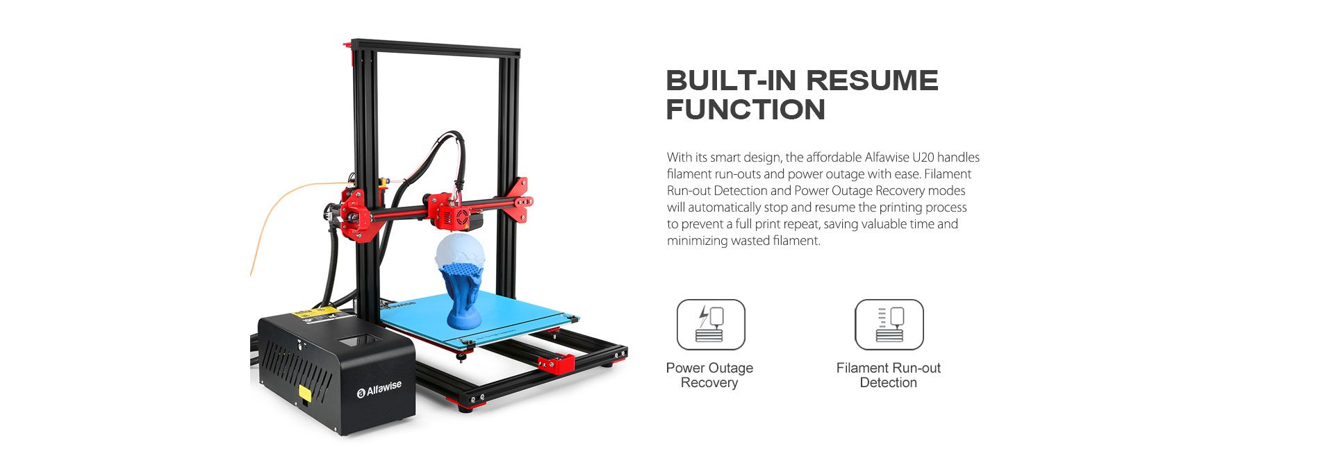 Alfawise U20 Black U20 EU Plug 3D Printers, 3D Printer