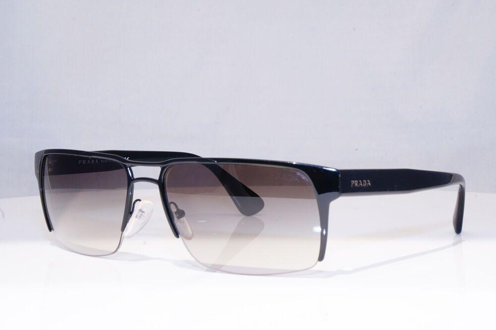 a92b308855f69 eBay  Sponsored PRADA Mens Designer Sunglasses Black Rectangle SPR 52R  7AX-0A7 18385