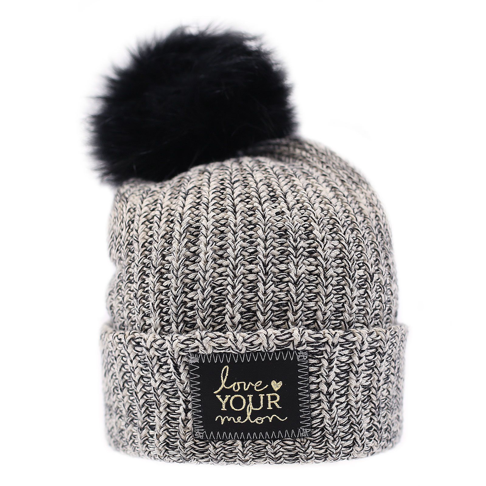 f931d829c6c9c Black Speckled Gold Foil Cuffed Pom Beanie (Black Pom). Black Speckled Gold  Foil Cuffed Pom Beanie (Black Pom) Love Your Melon Hats