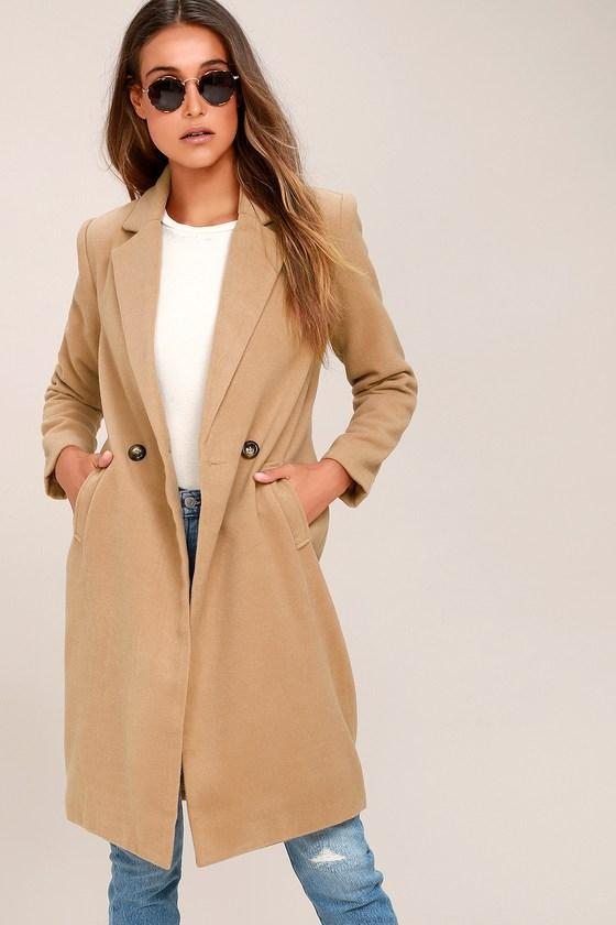 Harriet Long Double-Breasted Tan Coat   Tan coat, Coat dress