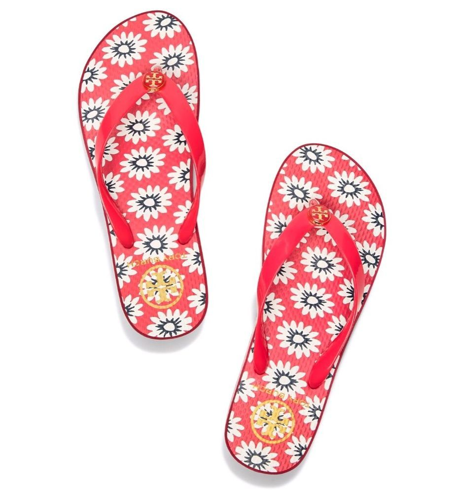 31359c3671bf New Tory Burch Wedge Flip Flops Nantucket Red Size 9