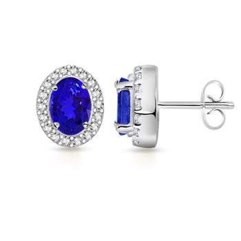Angara Oval Blue Sapphire Halo Vintage Stud Earrings in White Gold nFoSlBMn