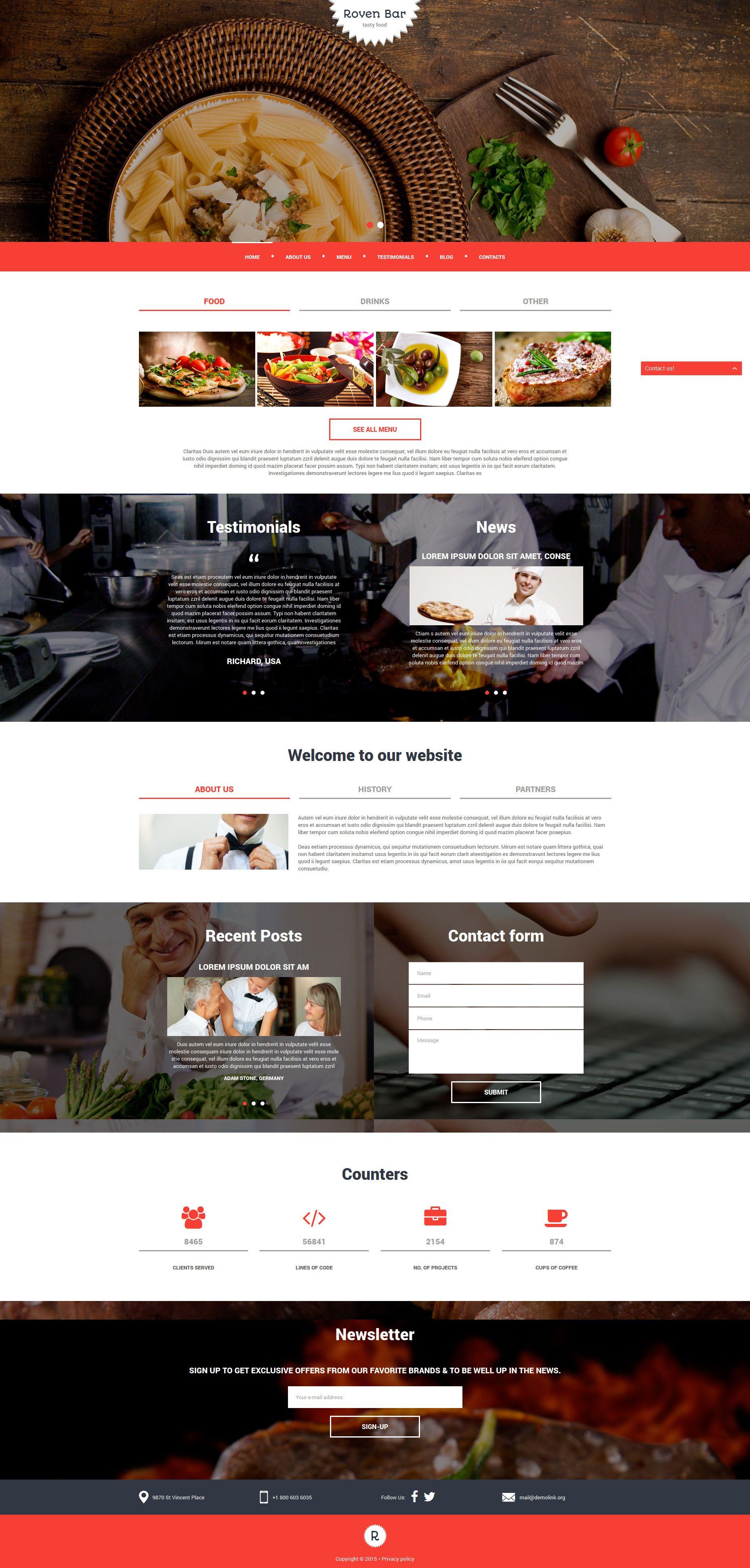 European Restaurant Responsive Joomla Template | Joomla themes and ...