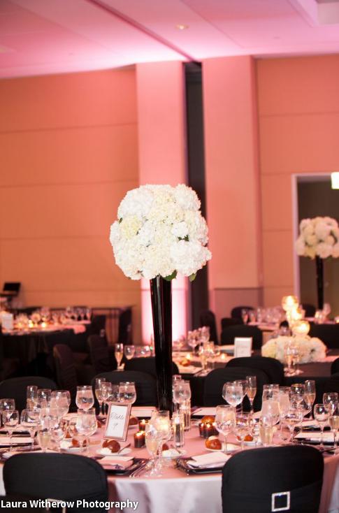 Tall Centerpiece Black Glass Vase With White Hydrangea