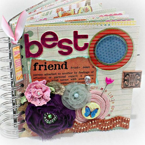 BEST FRIENDS Altered Hardback Book Cover Scrapbook Album