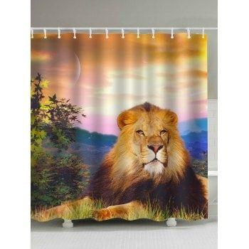 Waterproof Sunset Lion Print Shower Curtain Lion Print Diy