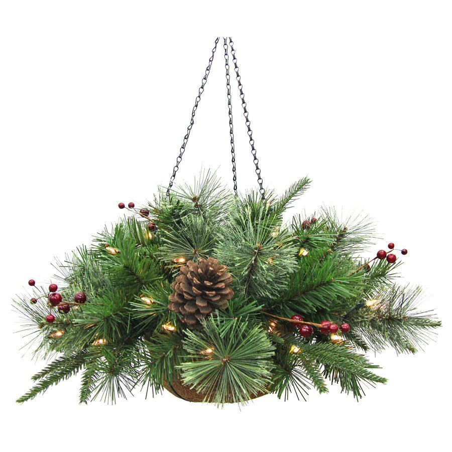 Holiday Living 24-In Pre-lit Artificial Hanging Basket Christmas ...