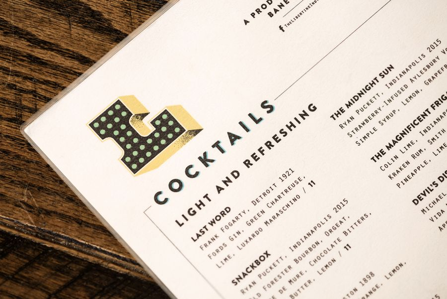 Visual identity and menu designed by CODO for Indianapolis liquor bar Libertine