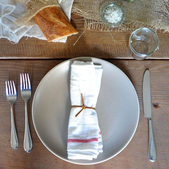 cheap but pretty idea use ikea dish towels as napkins