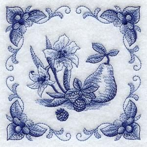 GOT THIS.  Embroidery Library E8769 Delft Blue Gladiolus and Fruit Square