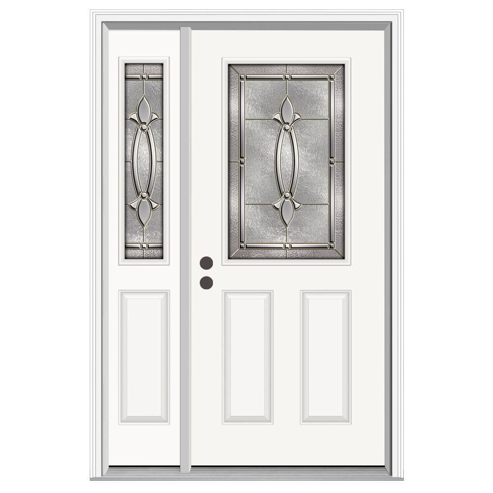 Jeld Wen 50 In X 80 In 1 2 Lite Blakely Primed Steel Prehung Left Hand Inswing Front Door With Left Hand Sidelite H30133 Entry Doors Steel Doors Exterior Doors