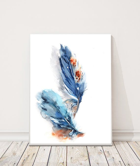 Original Aquarell Blaue Federn Federn Malerei Aquarell Bird Wall