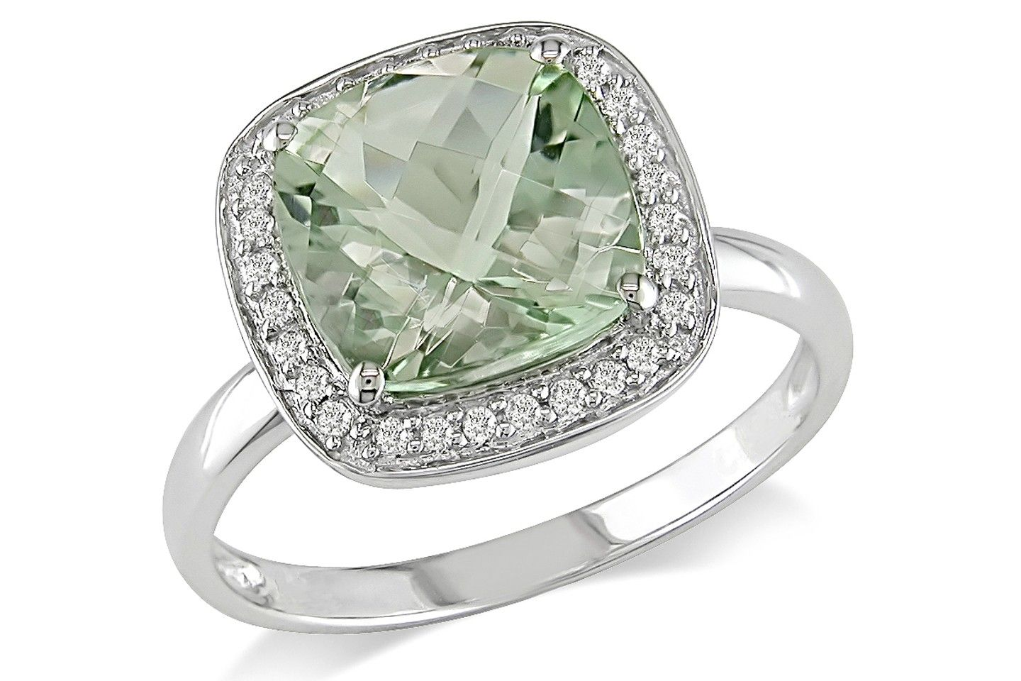 1/10 CT  Diamond TW And 2 5/8 CT TGW Green Amethyst Fashion Ring 10k White Gold GH I1;I2