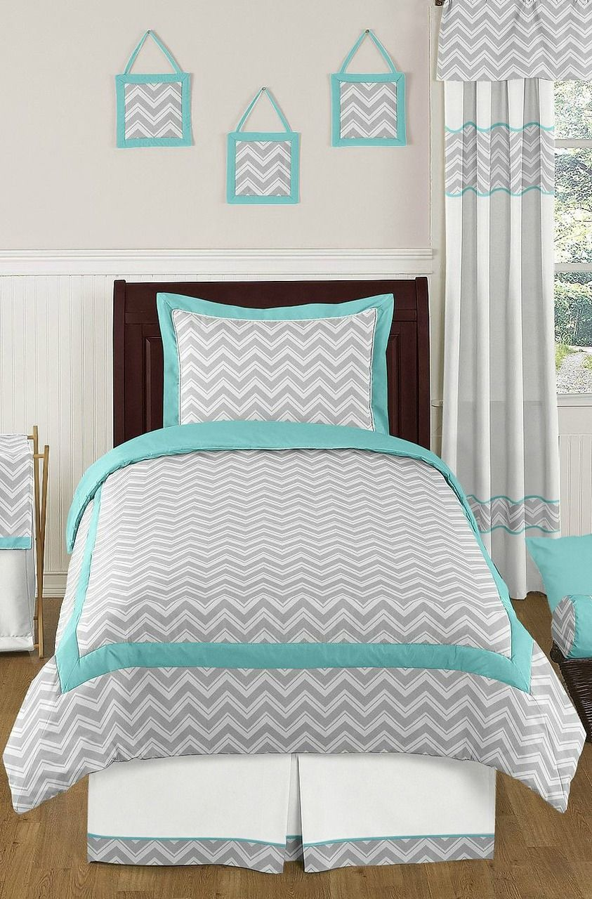 Twin 4 Piece Turquoise and Gray Chevron Kids and Chidrens ...