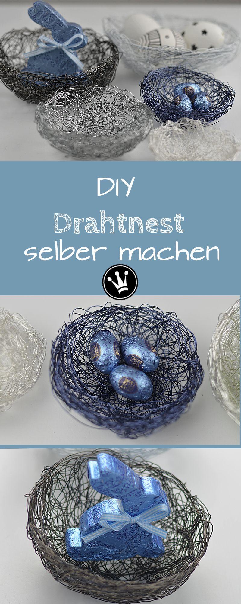 diy osterdeko selbermachen diese s nest schale aus draht selber zu machen geht ganz einfach. Black Bedroom Furniture Sets. Home Design Ideas