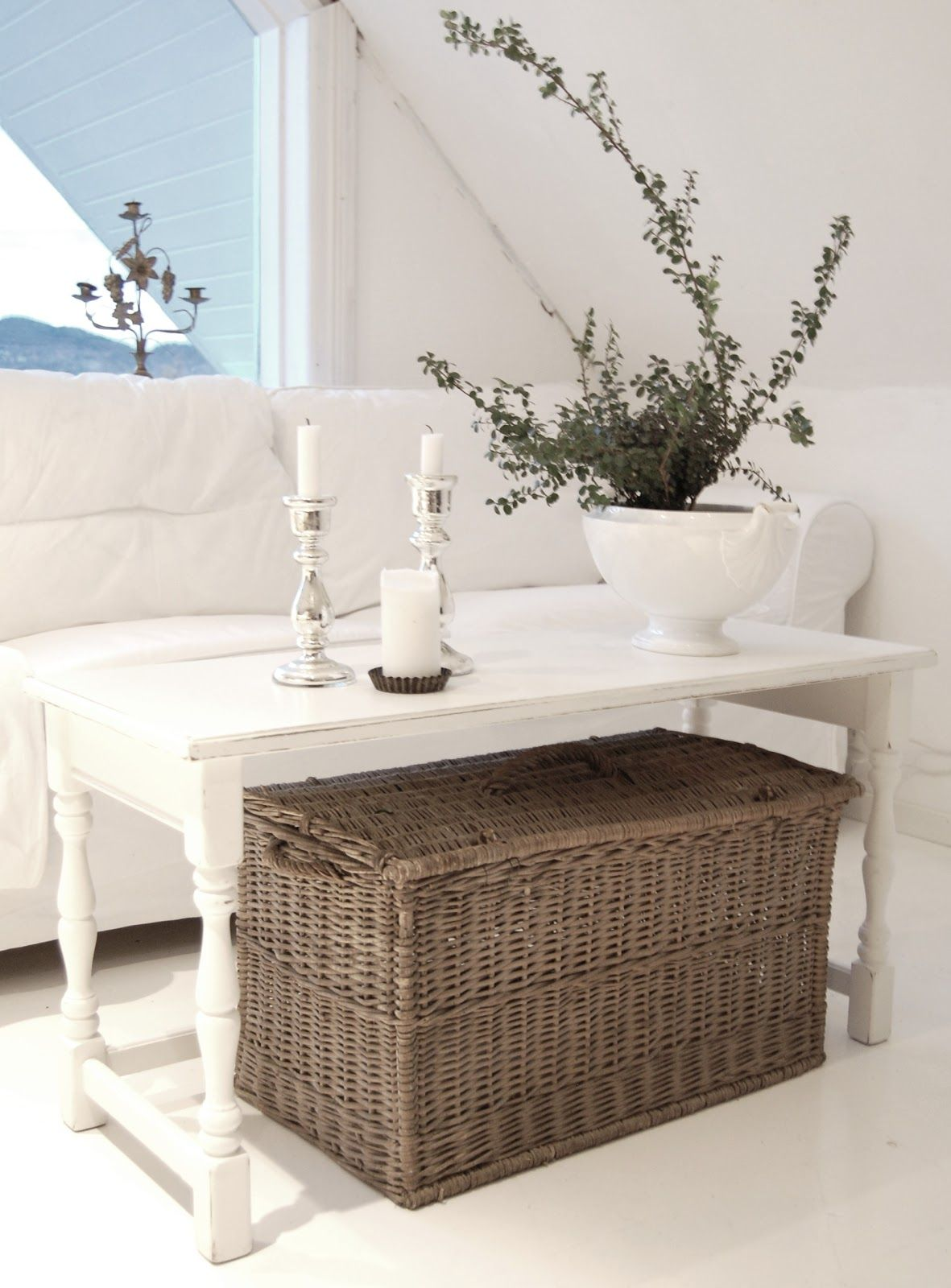 Basket Under An Open Coffee Table Coffee Table Home Decor