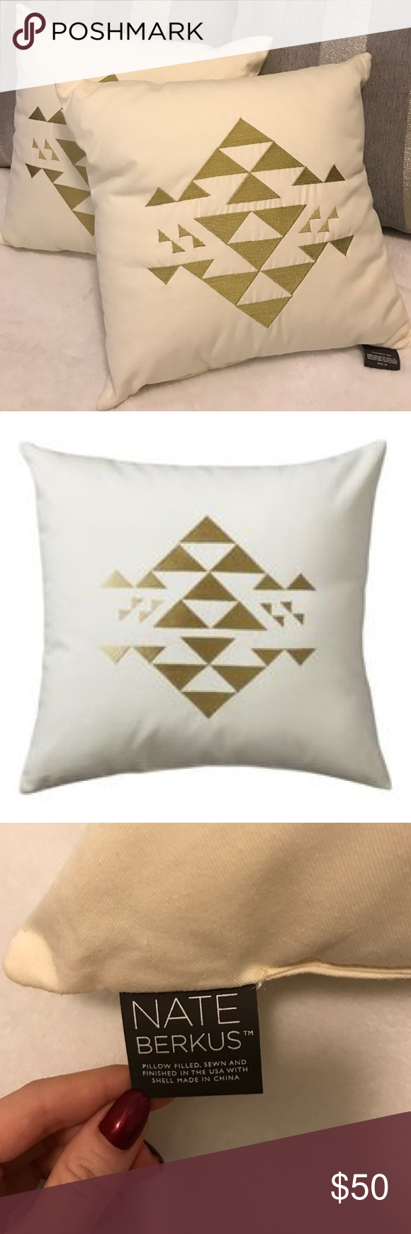 Photo of Nate Berkus Decorative Gold Geometric Pillows BNWT Nate Berkus Decorative Gold G…