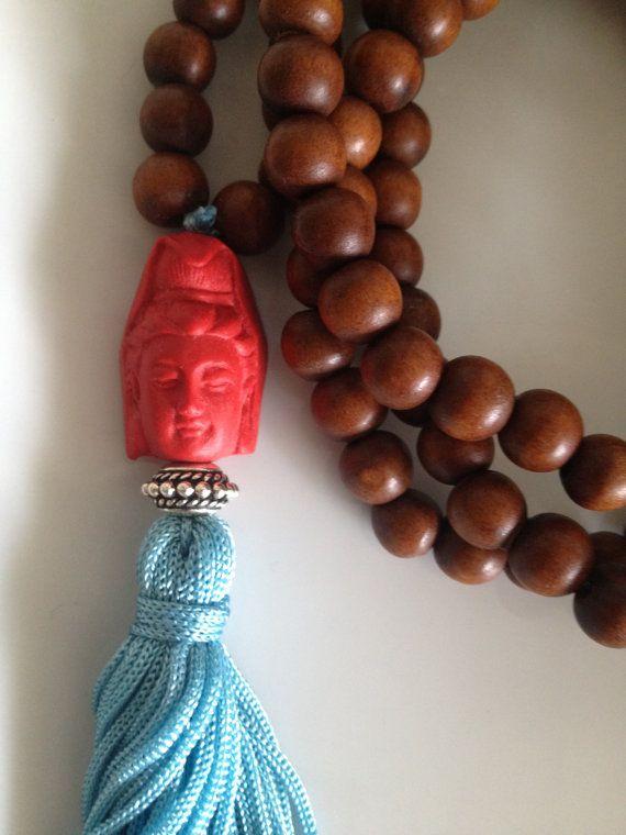 Cinnabar Buddha Mala Necklace Quan Yin by TheArtsyNomad on Etsy, $42.00