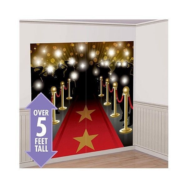 RED CARPET MOVIE NIGHT SCENE SETTER Happy Birthday Party Wall