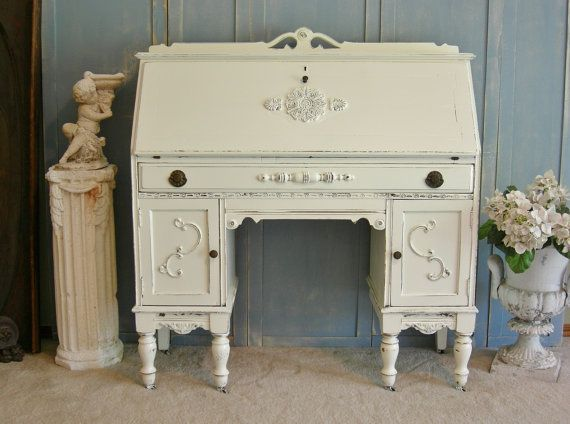 White DESK SECRETARY the Shabby Chic Furniture Painted Furniture Antique  with filing storage cabinets Farmhouse Ready - White DESK SECRETARY The Shabby Chic Furniture Painted Furniture