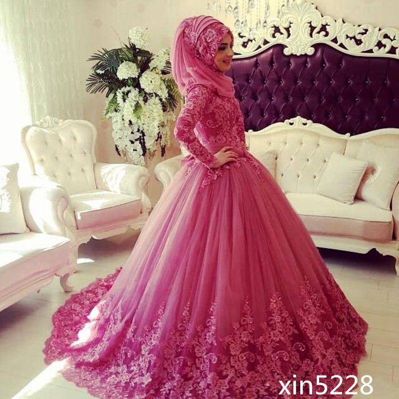 Cool Amazing 2018 Muslim Wedding Dress Deep Pink Beads High Neck ...