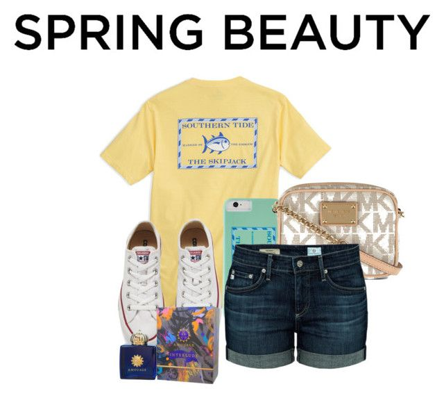 """""""My Spring Beauty"""" by paricebourgoin ❤ liked on Polyvore featuring beauty, Southern Tide, Converse, AMOUAGE, MICHAEL Michael Kors and AG Adriano Goldschmied"""